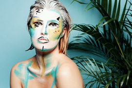 pained bright colour makeup effect hair paint