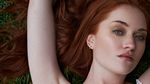 nevs models london heather red head freckles gold eye makeup gold hoops earrings